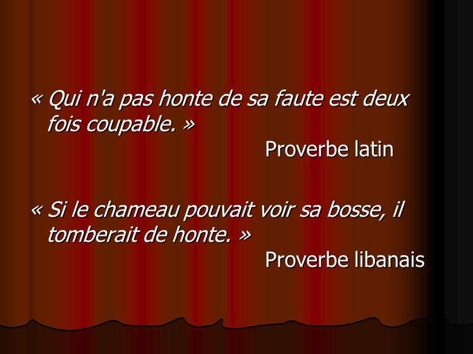 « Qui n a pas honte de sa faute est deux fois coupable. »