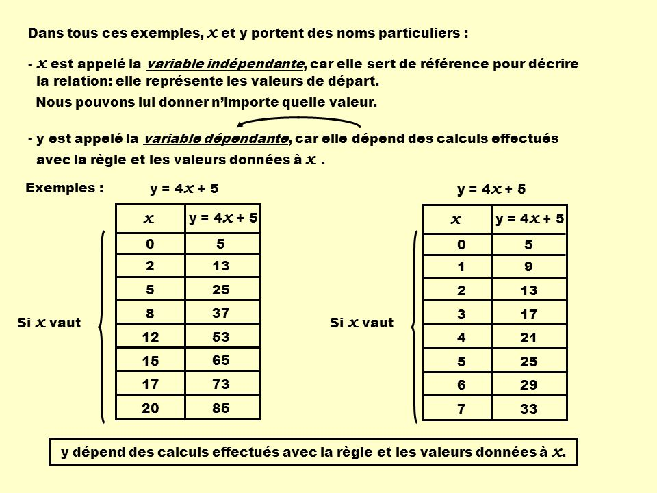 x Dans tous ces exemples, x et y portent des noms particuliers :