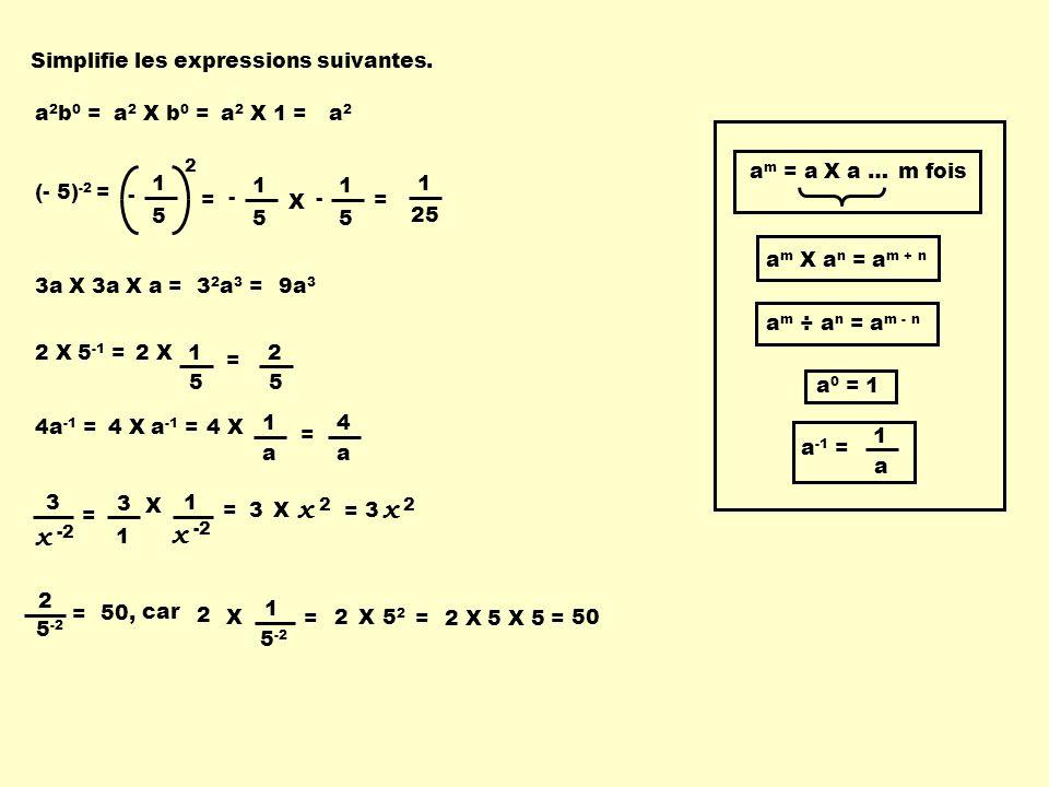 x x x x Simplifie les expressions suivantes. a2b0 = a2 X b0 = a2 X 1 =