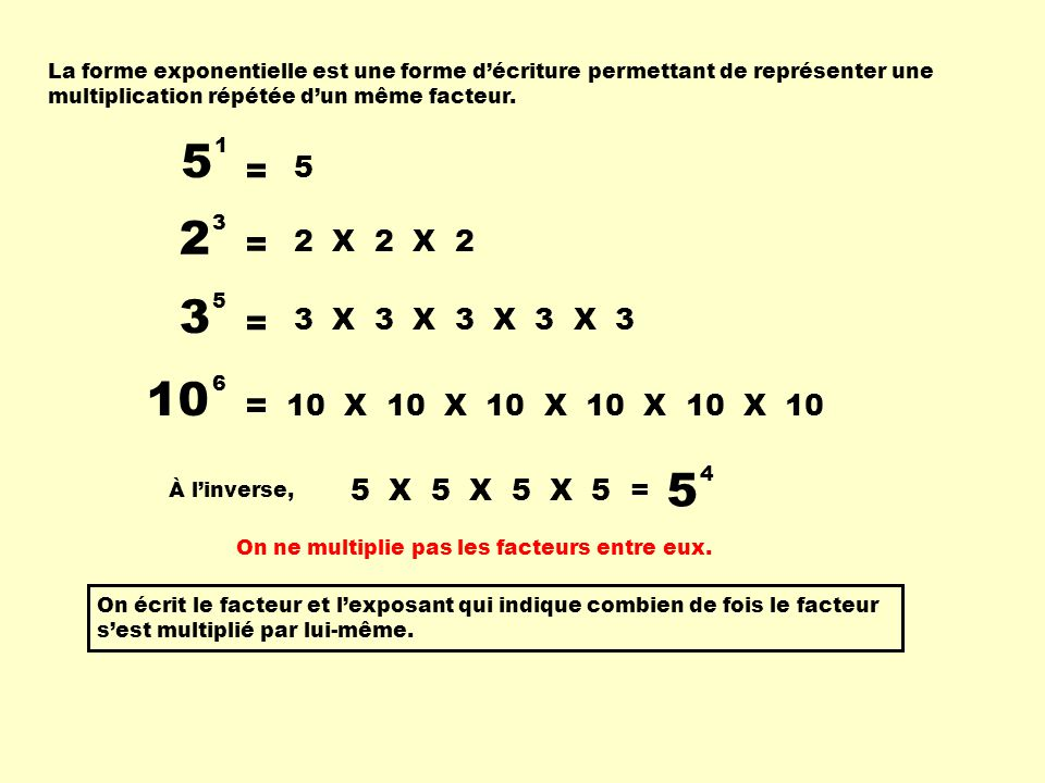 La forme exponentielle est une forme d'écriture permettant de représenter une multiplication répétée d'un même facteur.