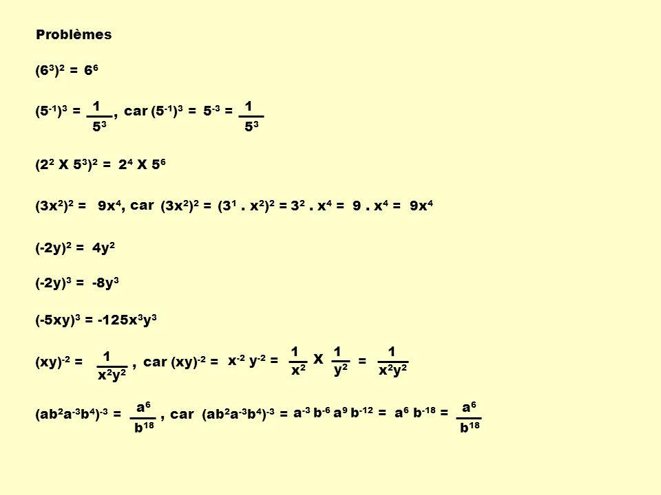 Problèmes (63)2 = 66. 1. 53. , 1. 53. (5-1)3 = car. (5-1)3 = 5-3 = (22 X 53)2 = 24 X 56.