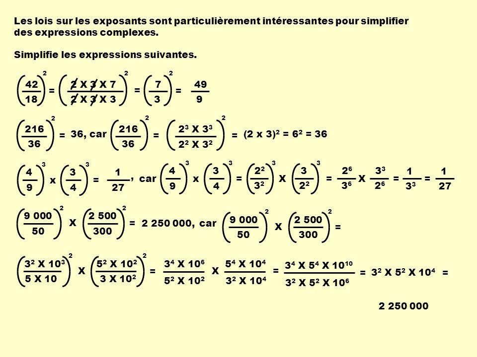 Les lois sur les exposants sont particulièrement intéressantes pour simplifier des expressions complexes.