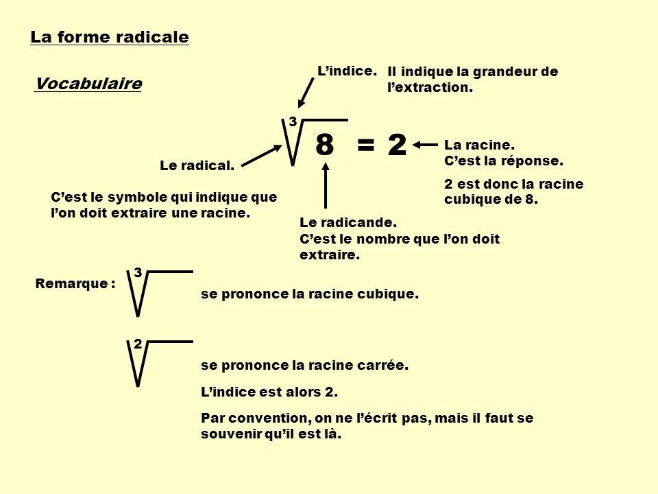 8 = 2 La forme radicale Vocabulaire L'indice.