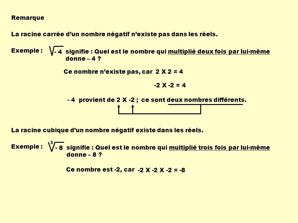 La racine carrée d'un nombre négatif n'existe pas dans les réels.