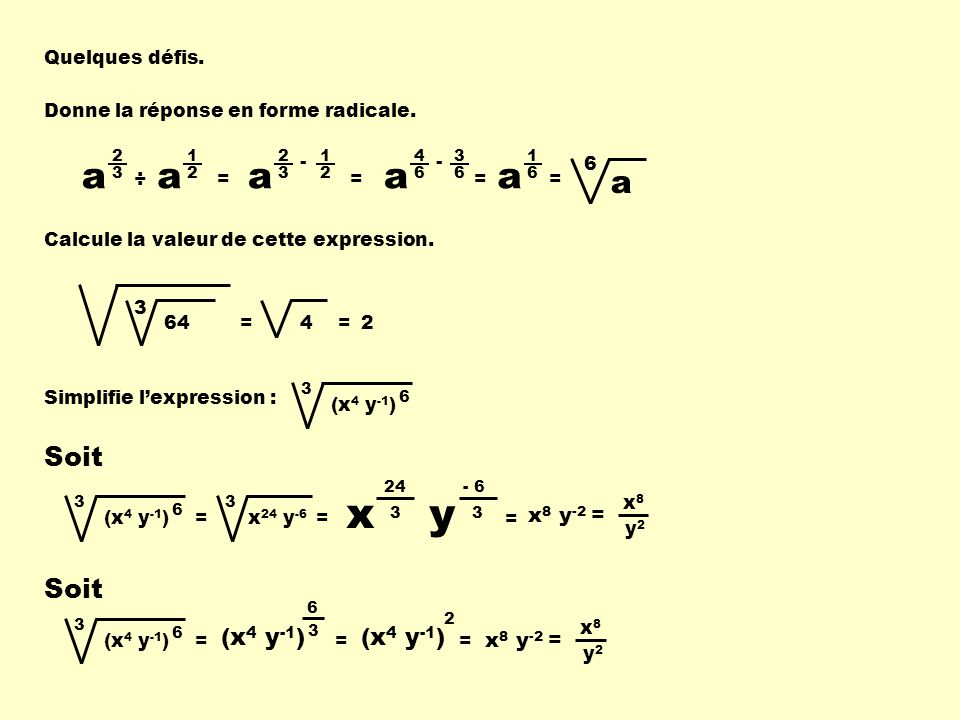 x y a a a a a Soit Soit (x4 y-1) (x4 y-1) x8 y-2 = x8 y-2 =