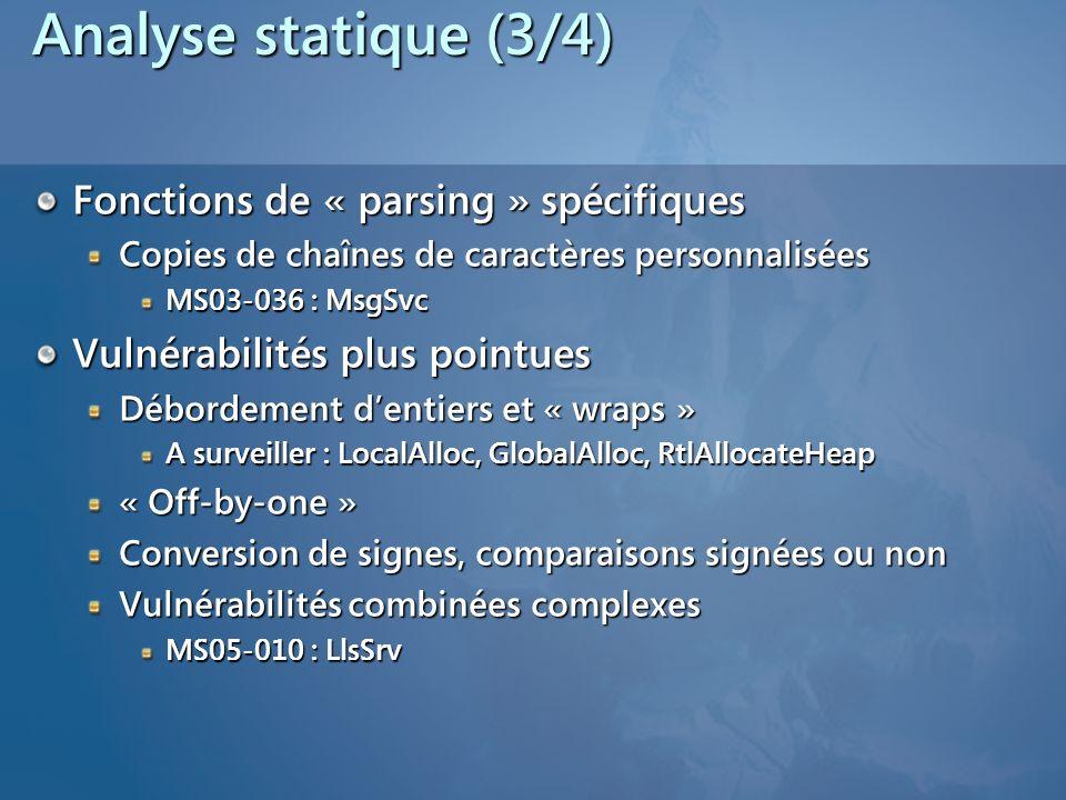 Analyse statique (3/4) Fonctions de « parsing » spécifiques