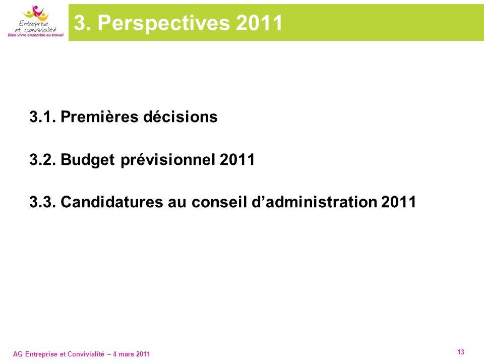 3. Perspectives 2011 3.1. Premières décisions