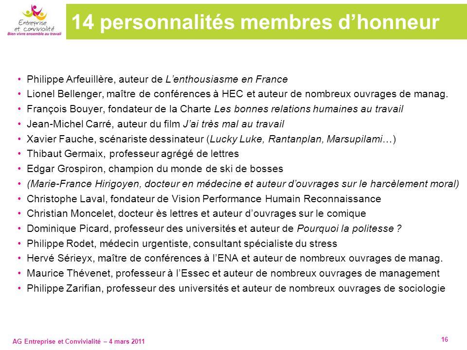 14 personnalités membres d'honneur