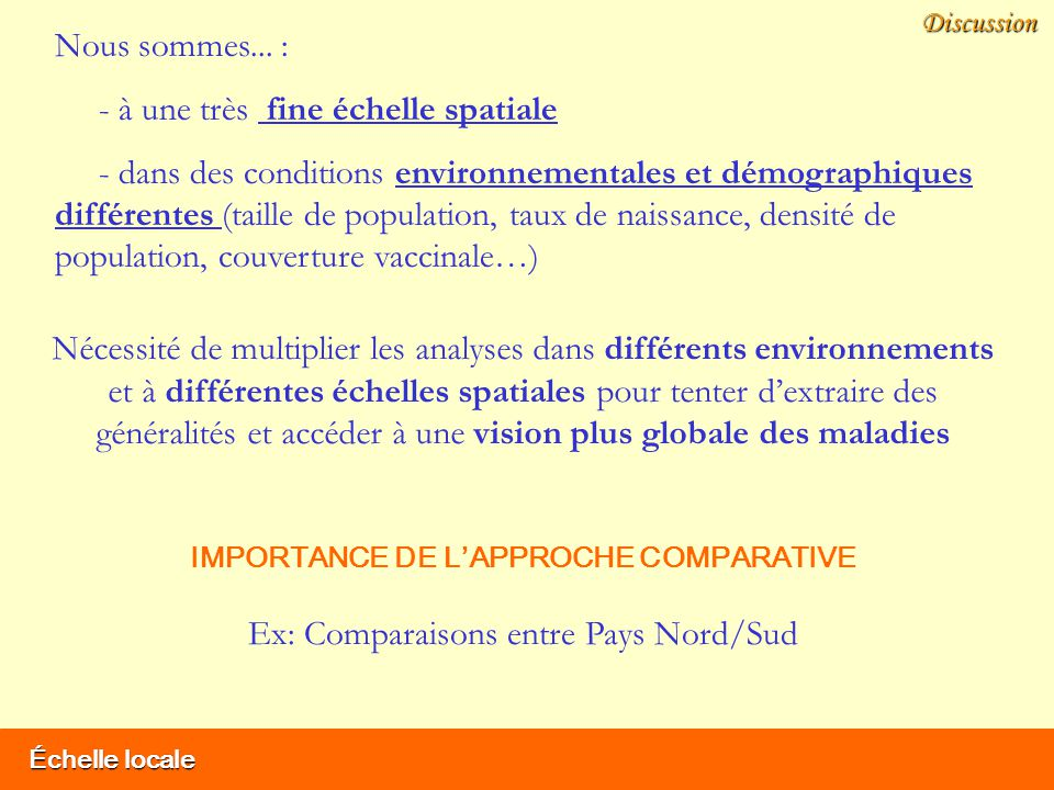 IMPORTANCE DE L'APPROCHE COMPARATIVE