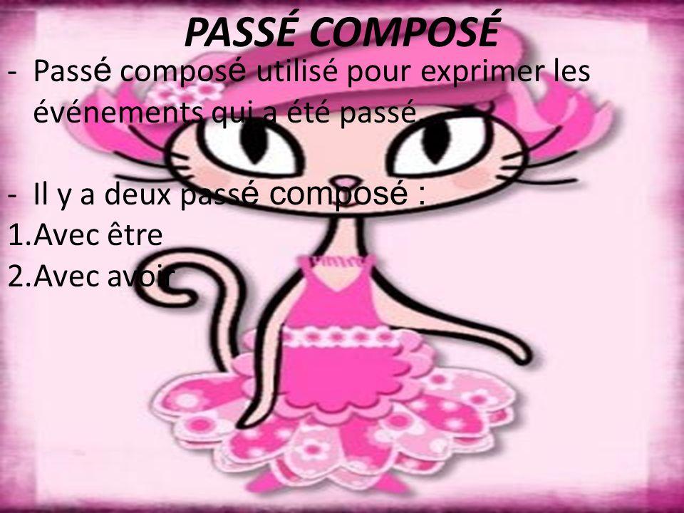 PASSÉ COMPOSÉ - Passé composé utilisé pour exprimer les événements qui a été passé. Il y a deux passé composé :