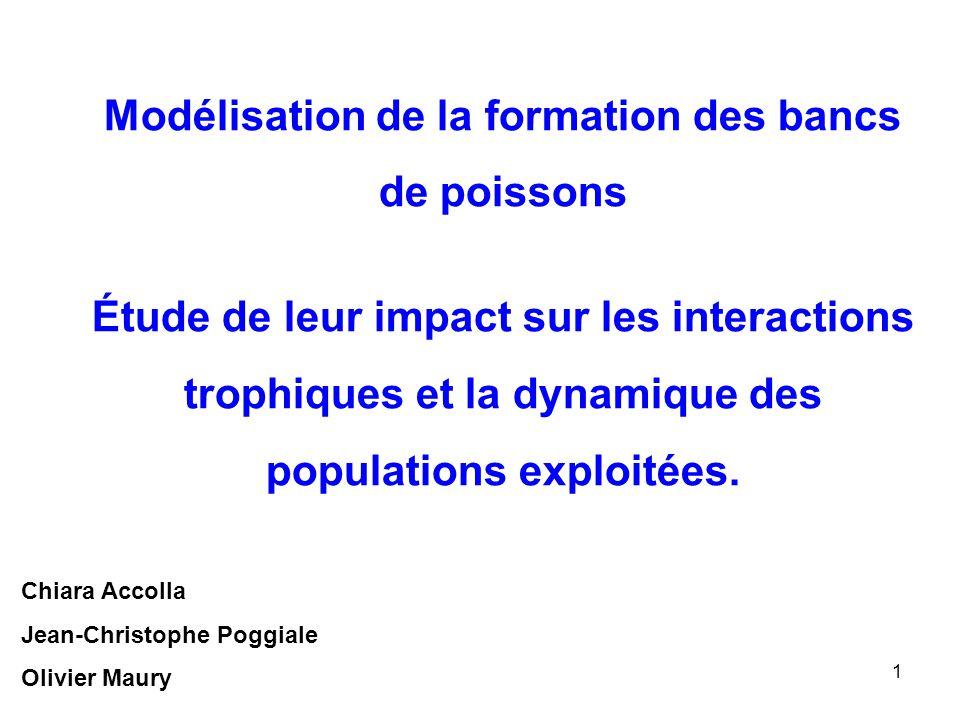 Modélisation de la formation des bancs de poissons Étude de leur impact sur les interactions trophiques et la dynamique des populations exploitées.