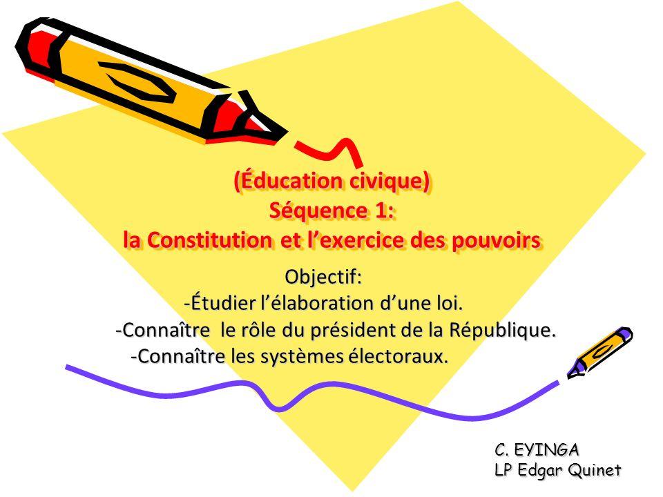 (Éducation civique) Séquence 1: la Constitution et l'exercice des pouvoirs