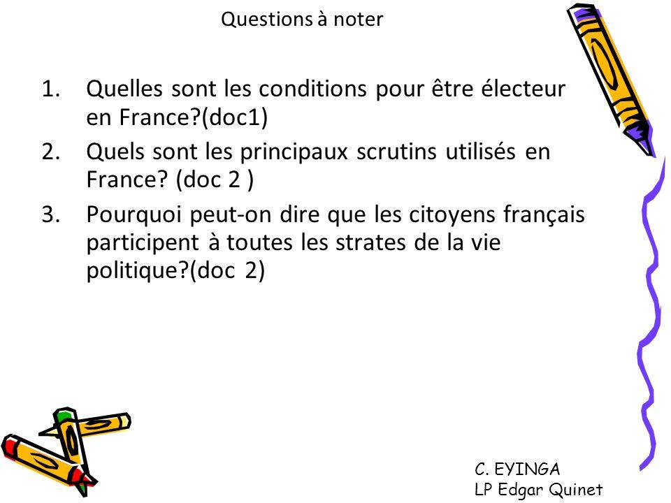 Quelles sont les conditions pour être électeur en France (doc1)