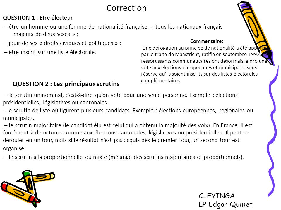 Correction QUESTION 2 : Les principaux scrutins C. EYINGA