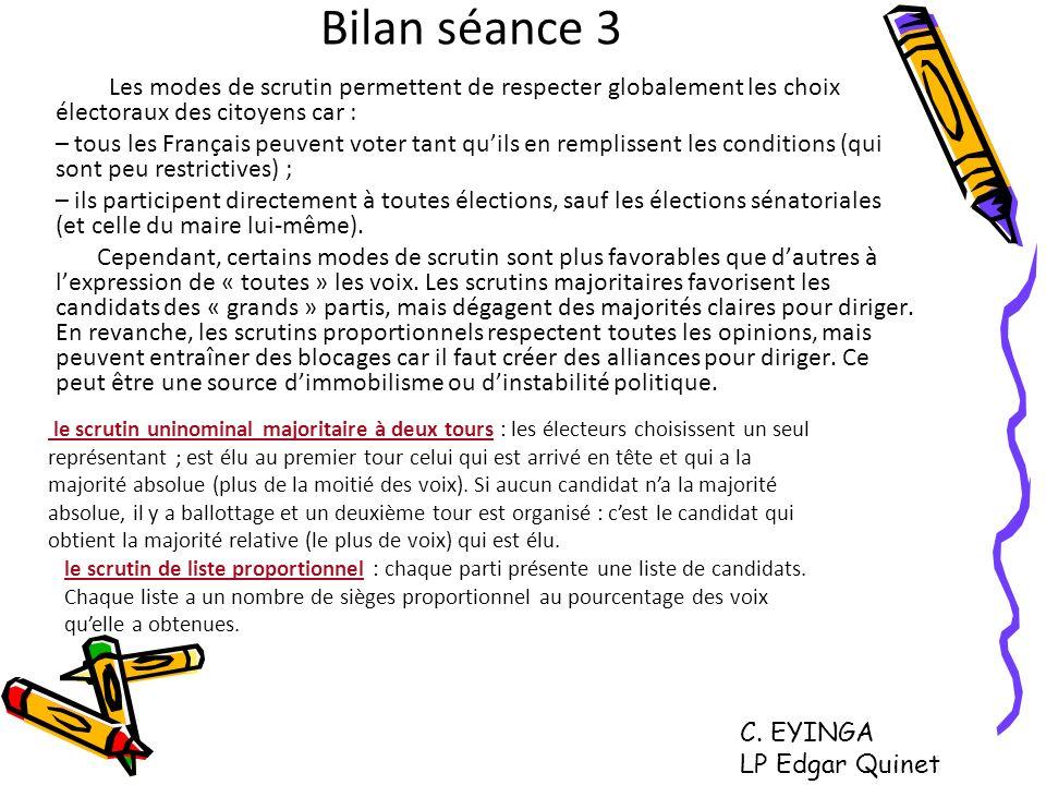 Bilan séance 3 Les modes de scrutin permettent de respecter globalement les choix électoraux des citoyens car :