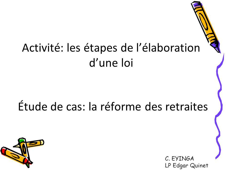 Activité: les étapes de l'élaboration d'une loi