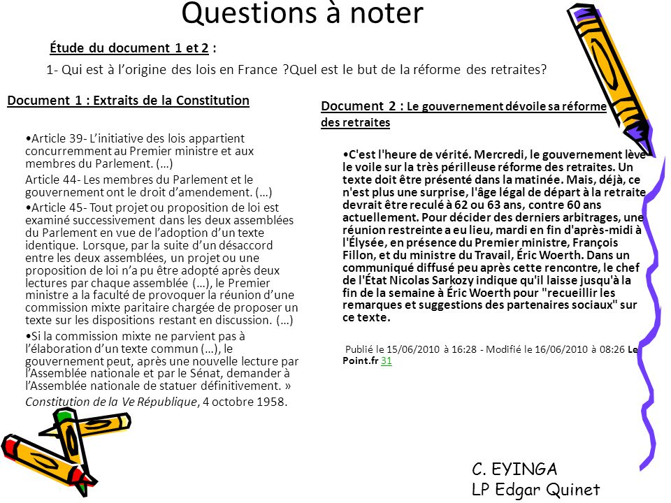 Questions à noter C. EYINGA LP Edgar Quinet Étude du document 1 et 2 :