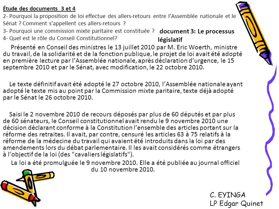 document 3: Le processus législatif