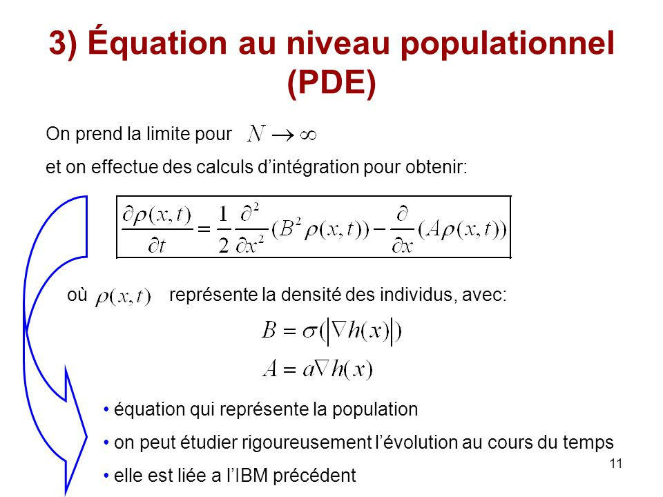 3) Équation au niveau populationnel (PDE)