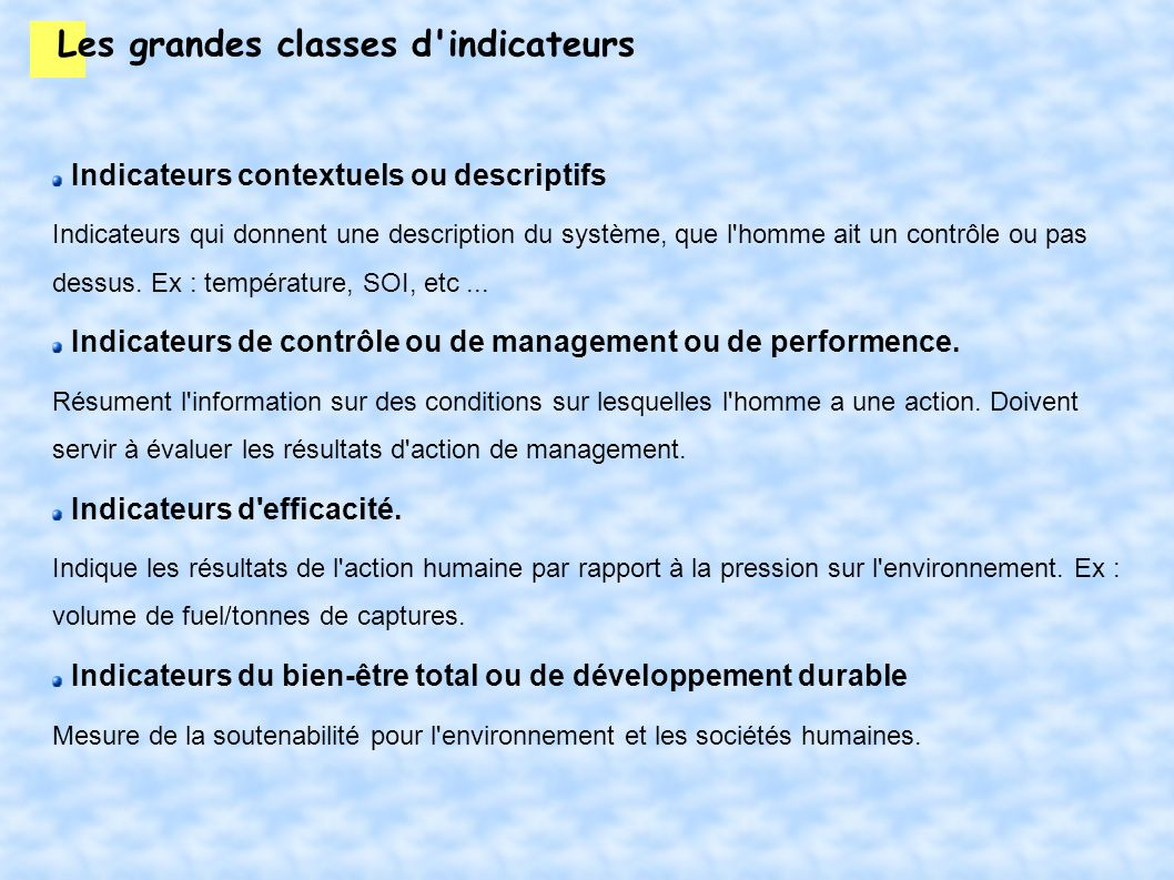 Les grandes classes d indicateurs