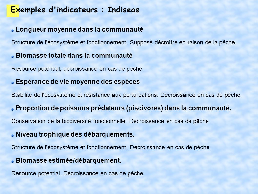 Exemples d indicateurs : Indiseas