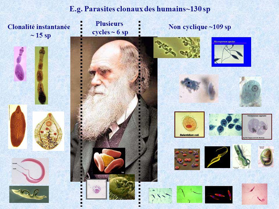 E.g. Parasites clonaux des humains~130 sp