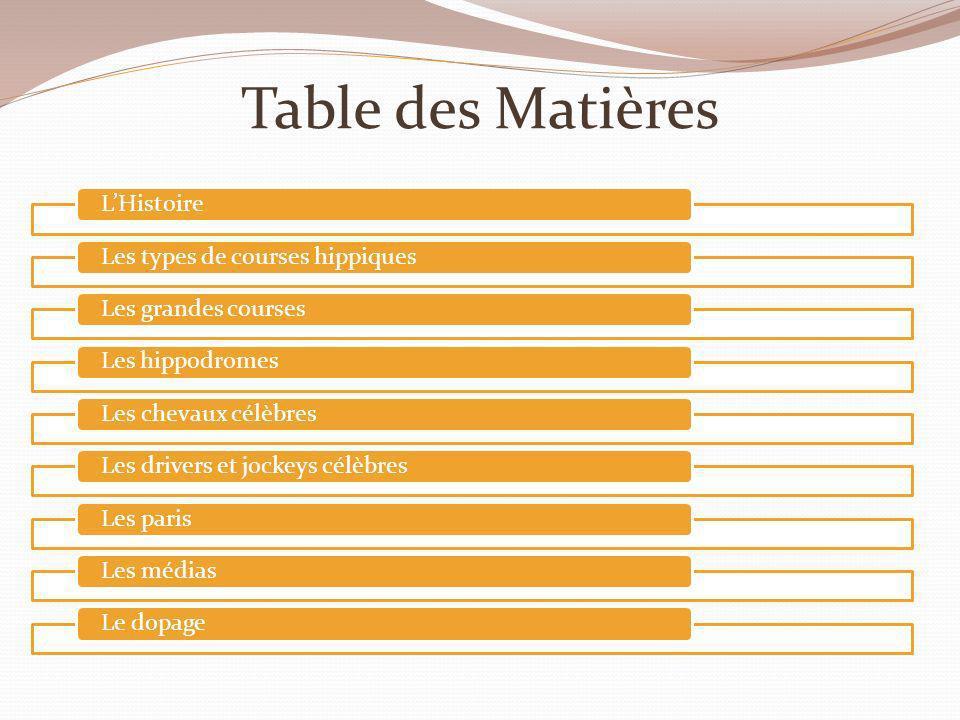 Table des Matières L'Histoire Les types de courses hippiques