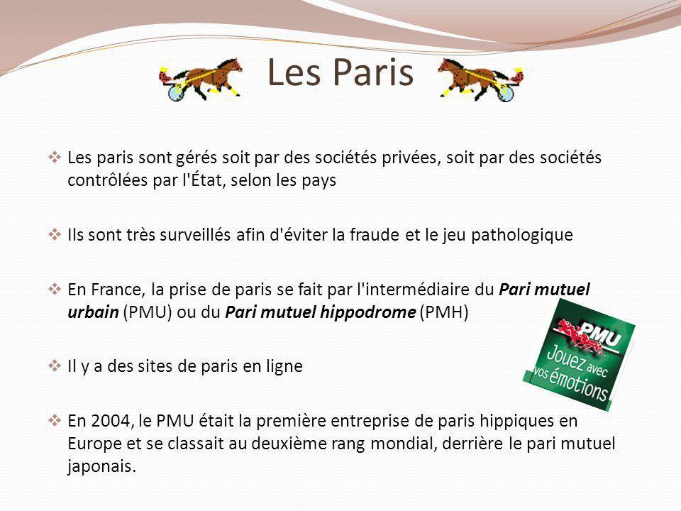 Les Paris Les paris sont gérés soit par des sociétés privées, soit par des sociétés contrôlées par l État, selon les pays.