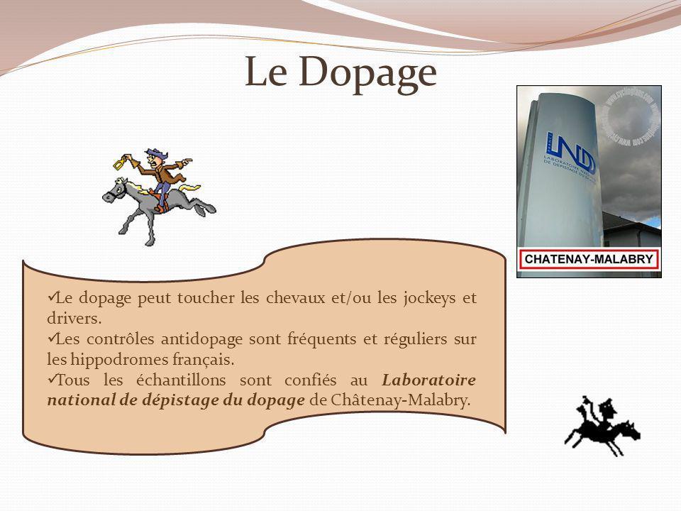 Le Dopage Le dopage peut toucher les chevaux et/ou les jockeys et drivers.