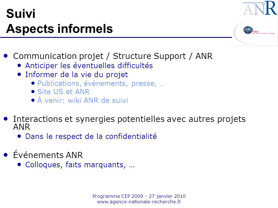 Suivi Aspects informels