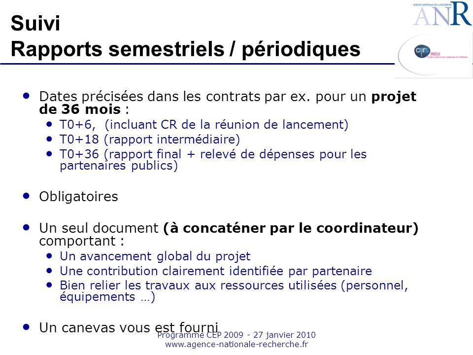 Suivi Rapports semestriels / périodiques