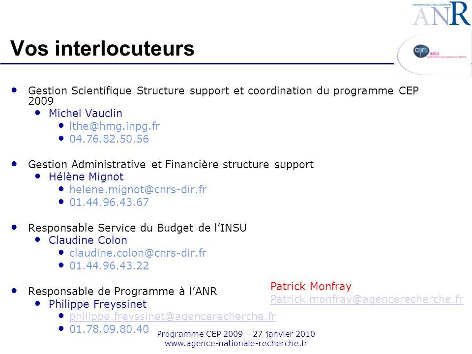 Programme CEP 2009 - 27 janvier 2010