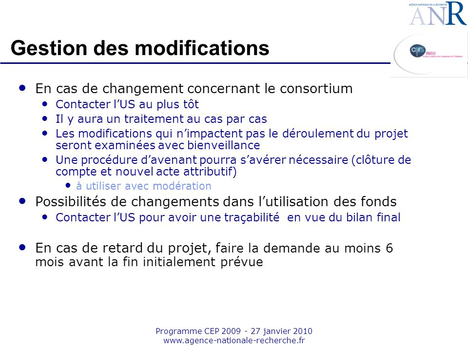 Gestion des modifications