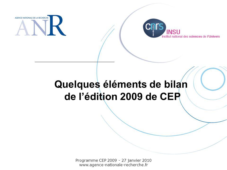 Quelques éléments de bilan de l'édition 2009 de CEP