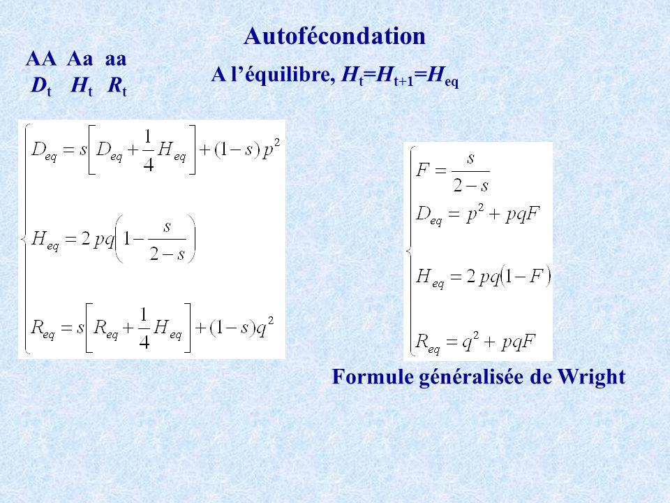 A l'équilibre, Ht=Ht+1=Heq Formule généralisée de Wright