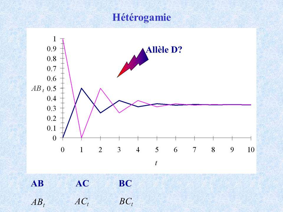 Hétérogamie Allèle D AB AC BC ABt ACt BCt