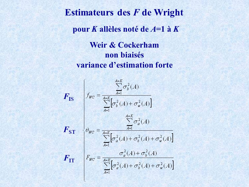 Estimateurs des F de Wright variance d'estimation forte