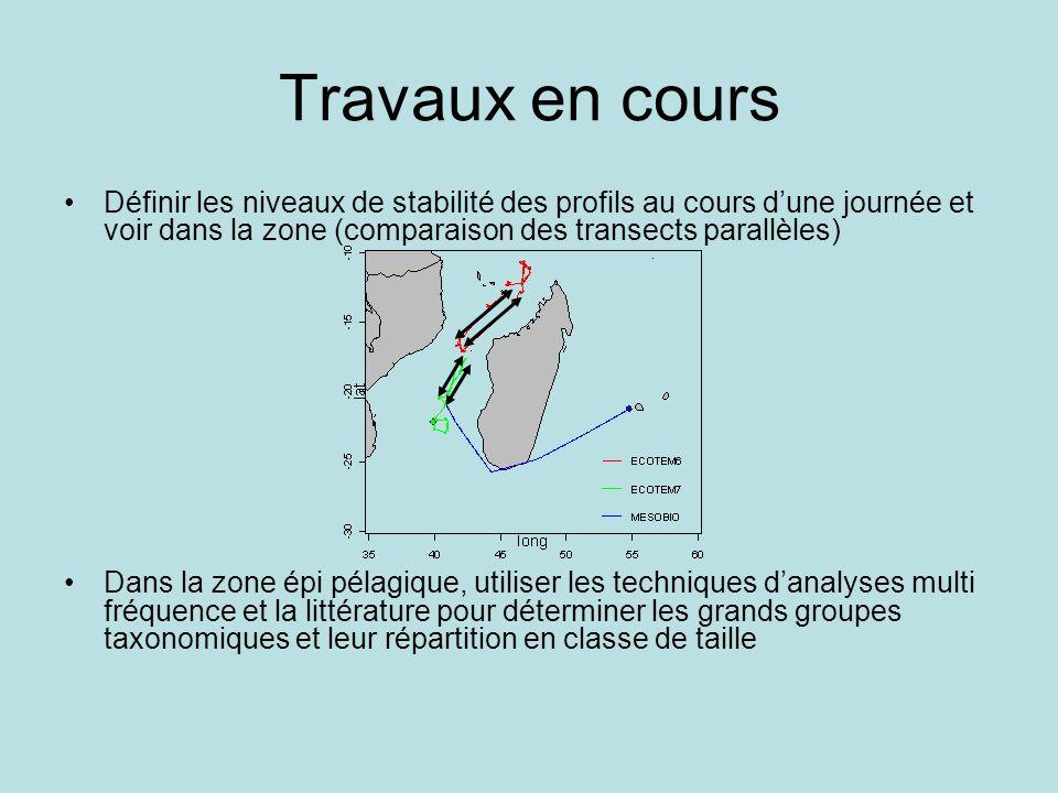 Travaux en cours Définir les niveaux de stabilité des profils au cours d'une journée et voir dans la zone (comparaison des transects parallèles)