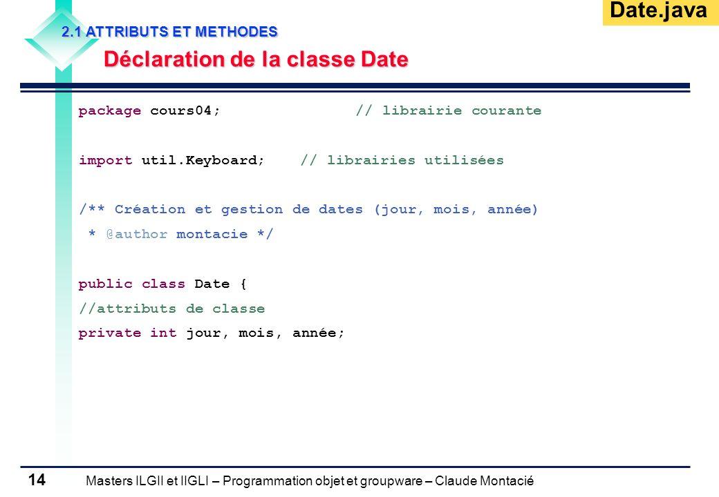 Déclaration de la classe Date