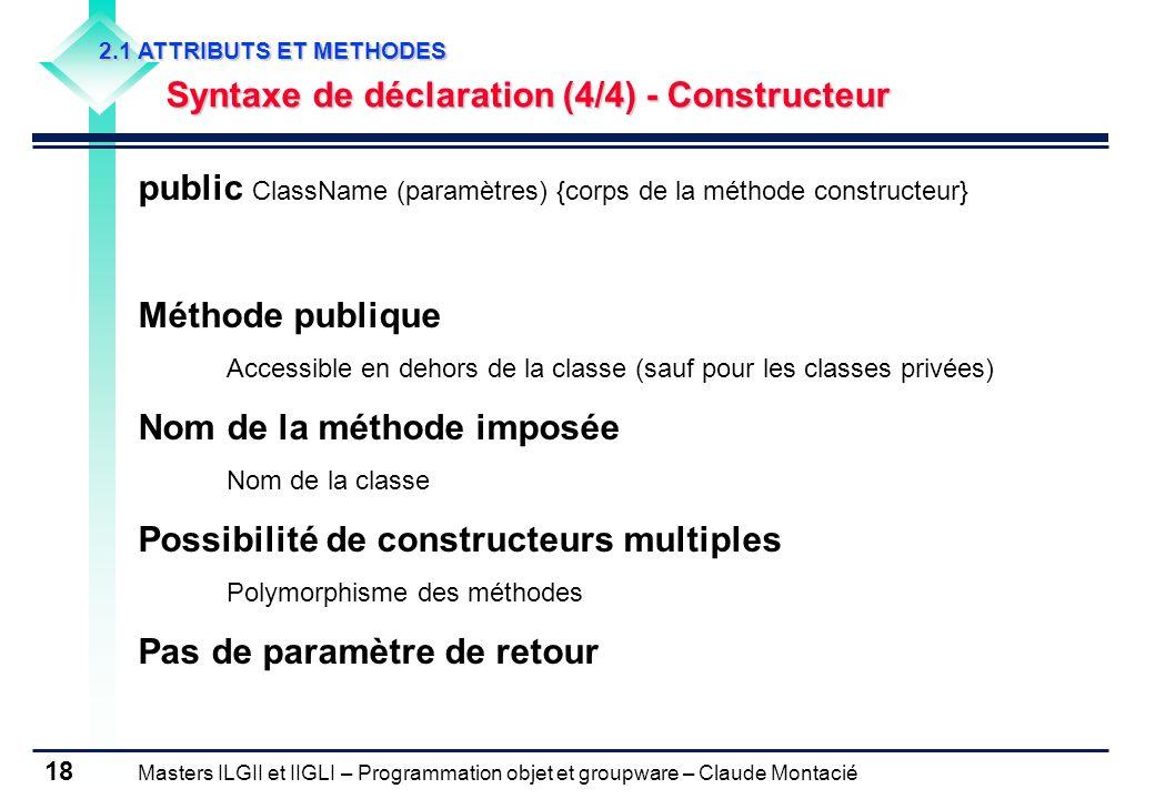public ClassName (paramètres) {corps de la méthode constructeur}