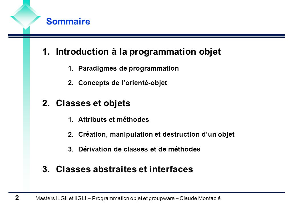Introduction à la programmation objet