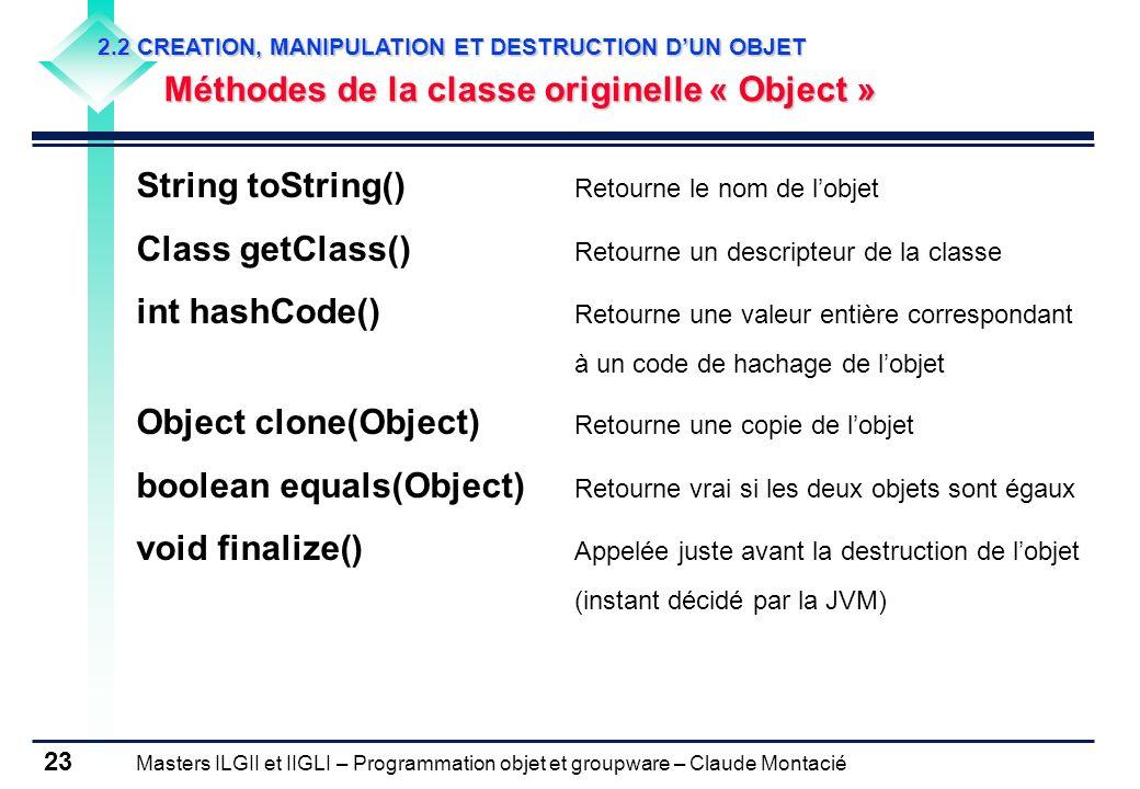 String toString() Retourne le nom de l'objet