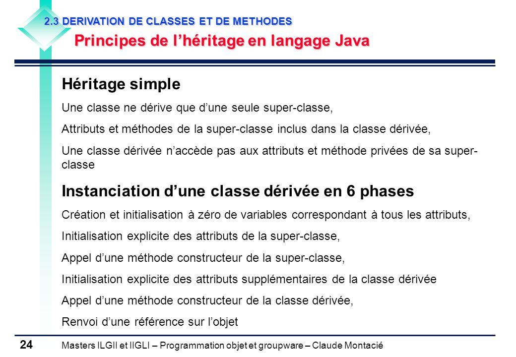 Instanciation d'une classe dérivée en 6 phases