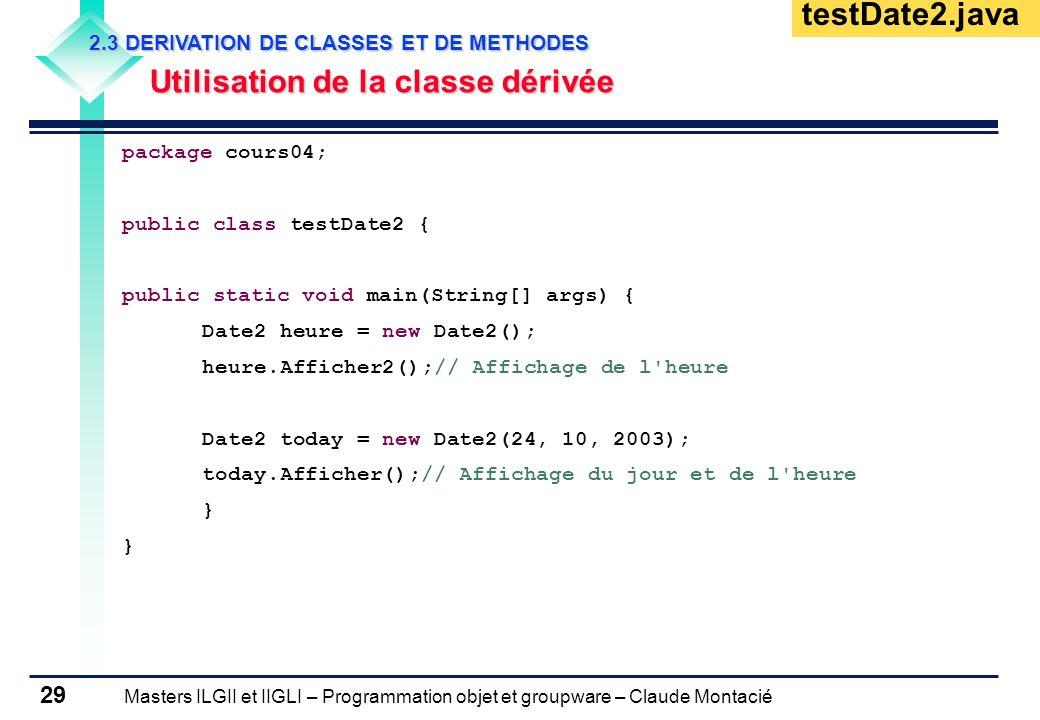 testDate2.java Utilisation de la classe dérivée