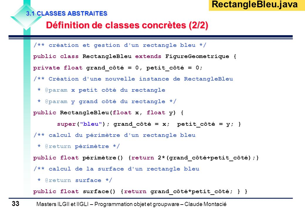 RectangleBleu.java Définition de classes concrètes (2/2)