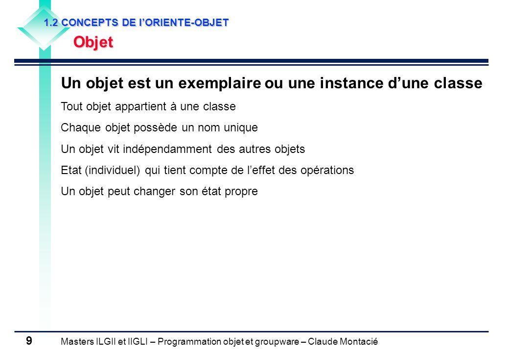 Un objet est un exemplaire ou une instance d'une classe