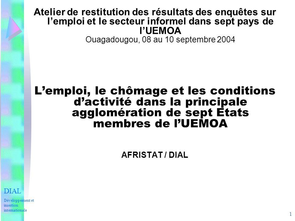 Atelier de restitution des résultats des enquêtes sur l'emploi et le secteur informel dans sept pays de l'UEMOA Ouagadougou, 08 au 10 septembre 2004