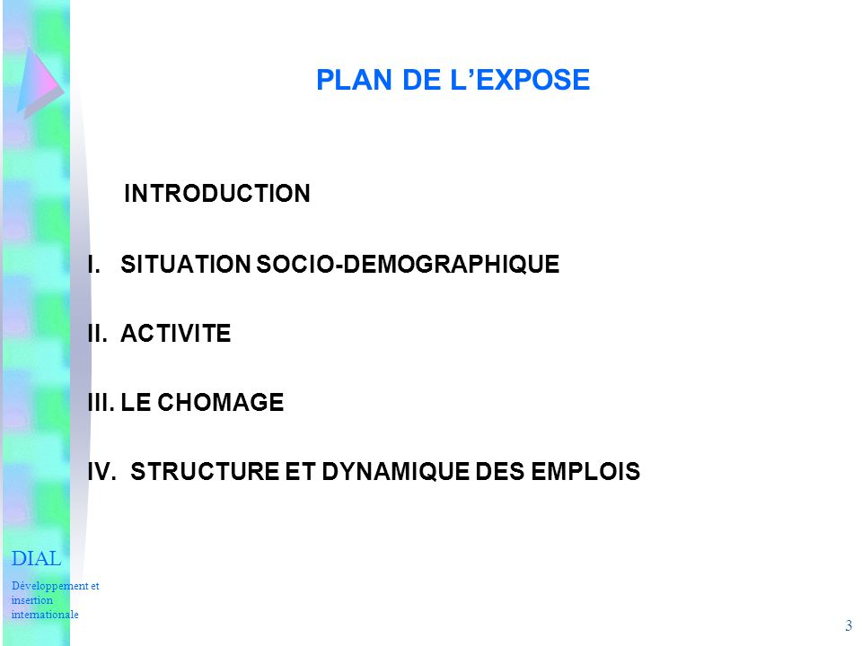 INTRODUCTION PLAN DE L'EXPOSE I. SITUATION SOCIO-DEMOGRAPHIQUE