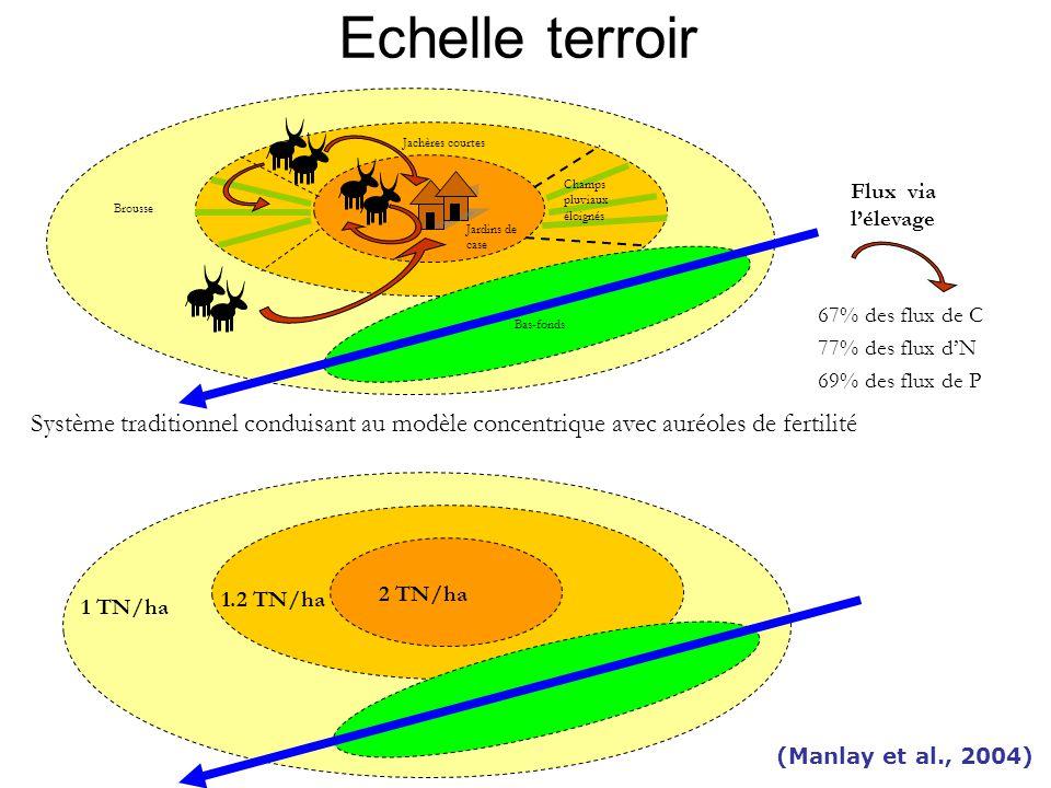 Echelle terroir Jachères courtes. Champs pluviaux éloignés. 67% des flux de C. 77% des flux d'N.