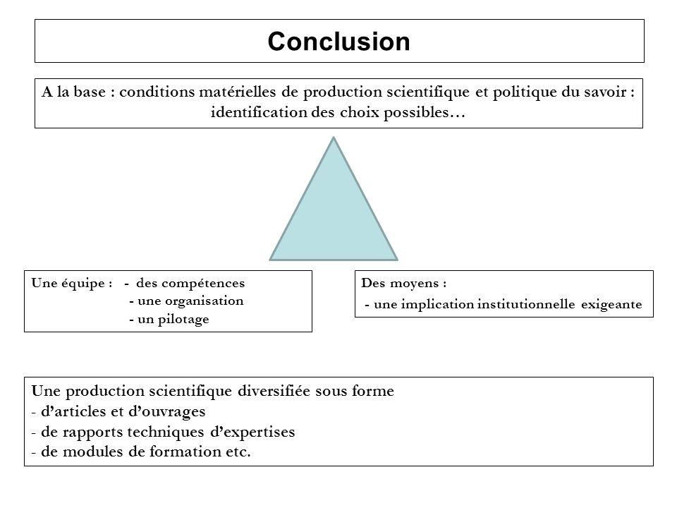 Conclusion A la base : conditions matérielles de production scientifique et politique du savoir : identification des choix possibles…